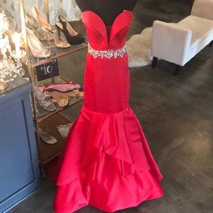 Rachel Allan Red Mermaid Prom Pageant Gown